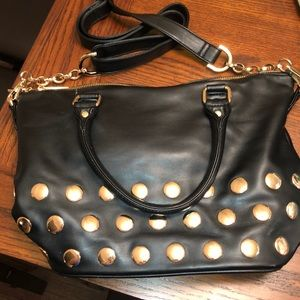 Deux Lux Pipa Large Satchel Black with Gold studs